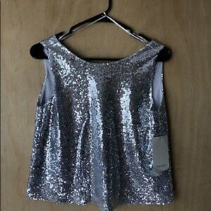 Zara silver sequined top size 6